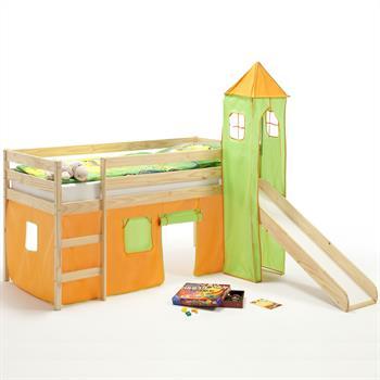 Rutschbett mit Turm u. Vorhang orange/grün