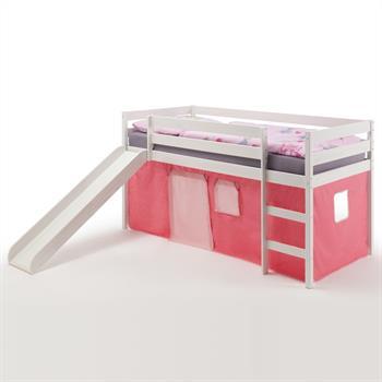 Spielbett BENNY weiß, mit Vorhang rosa