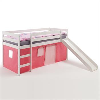 Rutschbett MIKA mit Vorhang in pink/rosa