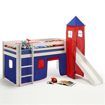 Rutschbett mit Vorhang und Turm, blau/rot