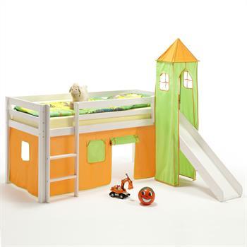 Rutschbett mit Vorhang & Turm, orange/grün