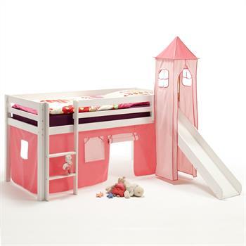 Rutschbett mit Vorhang und Turm, rosa/pink