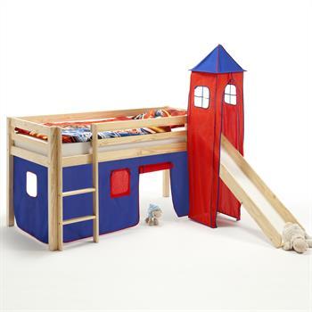 Rutschbett mit Vorhang und Turm blau/rot