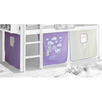 Vorhang für Hochbetten lila-weiß