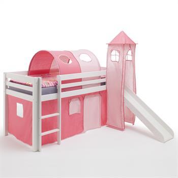 Spielbett mit Rutsche in pink-rosa, Kiefer