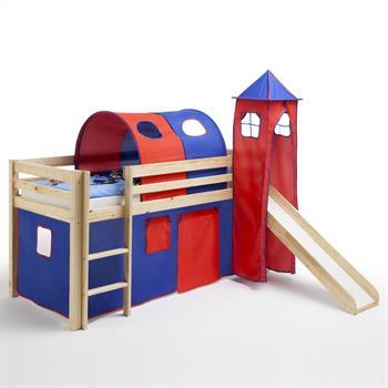 Spielbett mit Rutsche in balu-rot, Kiefer