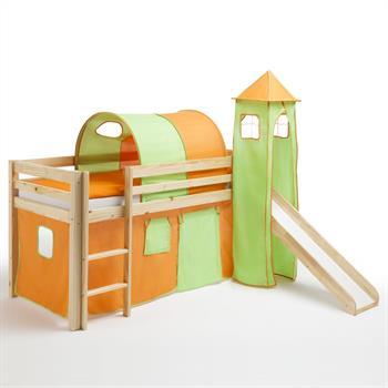 Spielbett mit Rutsche in orange/grün