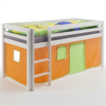 Hochbett in weiß mit Vorhang orange/grün