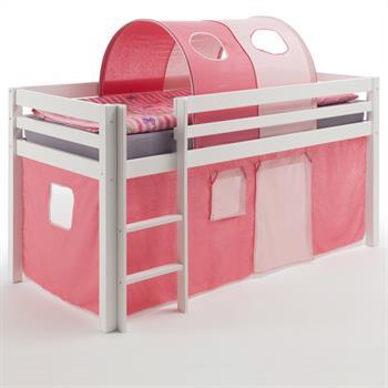 Hochbett mit Vorhang u. Tunnel pink/rosa