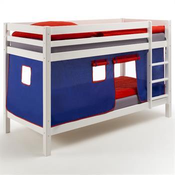 Etagenbett weiß lackiert, Vorhang blau/rot