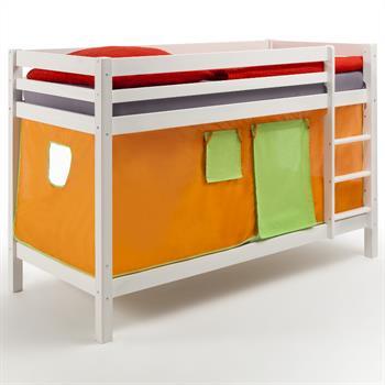 Etagenbett in weiß, Vorhang orange/grün