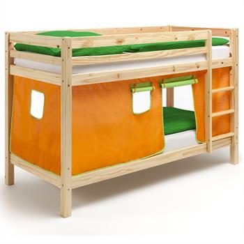Etagenbett aus Kiefer, Vorhang orange/grün