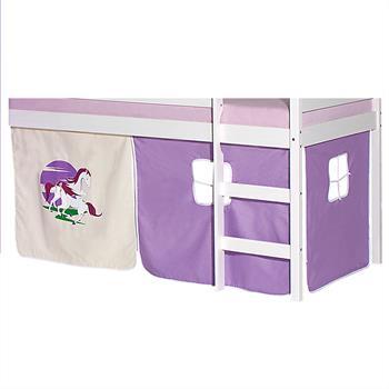 Bettvorhang mit Einhornmotiv in lila/beige für Hochbett