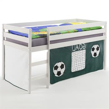Hochbett in weiß mit Fußball Vorhang