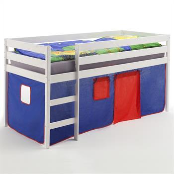 Hochbett in weiß mit Vorhang blau/rot