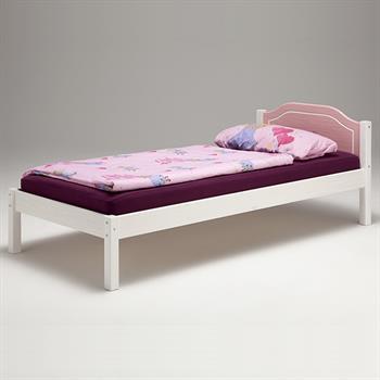 Einzelbett, Kiefer massiv, weiß/rosa