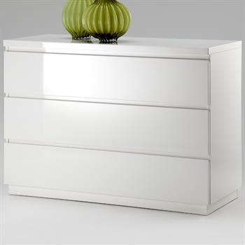 Hochglanz Kommode in weiß mit 3 Schubladen