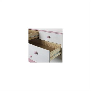 Schubladenkommode, Kiefer, weiß-rosa