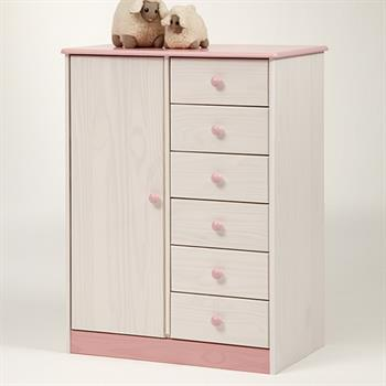 Kinder Kleiderschrank EMMY in weiß rosa
