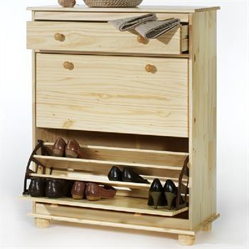 Schuhschrank mit Schublade, Kiefer, natur