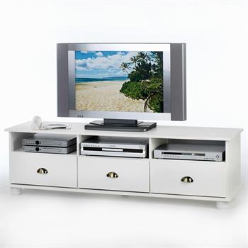 TV-Kommode aus Kiefer massiv in weiß