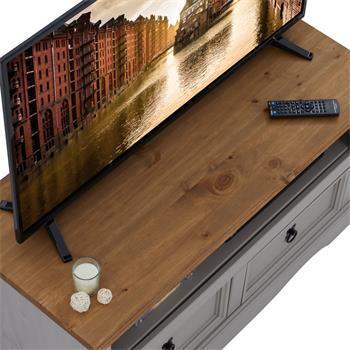 TV Lowboard RAMON Kiefer massiv mit 2 Schubladen im Mexiko Stil, grau/natur