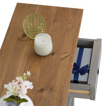 Konsolentisch RAMON Kiefer massiv mit 2 Schubladen, grau/braun