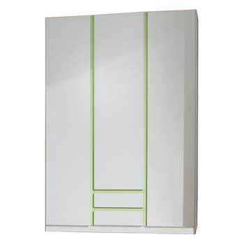 Kleiderschrank MIO in weiß/grün, 135 cm breit