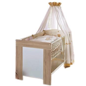Babybett KIRI 70x140 in Eiche sägerau/weiß