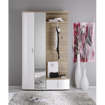 Garderobe in Sonoma Eiche/weiß mit Spiegel