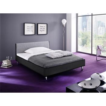 Polsterbett in schwarz/grau aus Kunstleder