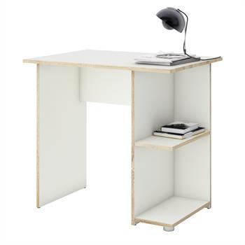 Schreibtisch KUBA in weiß/Sonoma Eiche mit 2 Ablageflächen