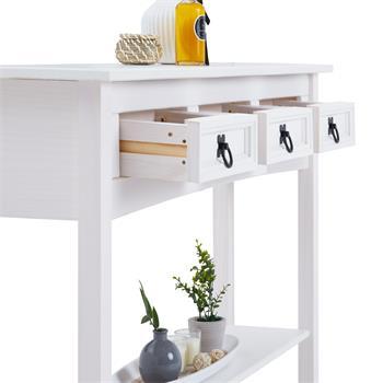 Konsolentisch RURAL Kiefer massiv weiß lasiert mit 3 Schubladen, Mexico Möbel