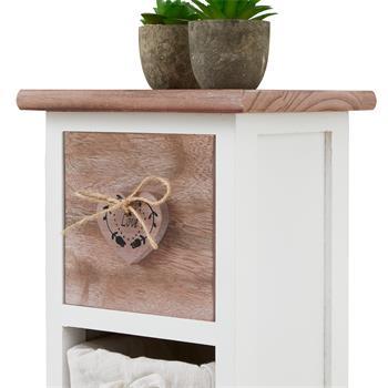 Blumenregal FLOWER in weiß/braun mit 1 Schublade und 3 Körben