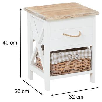 Nachttisch PERUGIA weiß, mit 1 Schublade