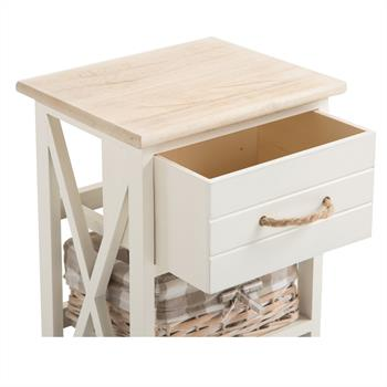 Nachttisch PERUGIA weiß, mit 1 Schublade 2 Körbe