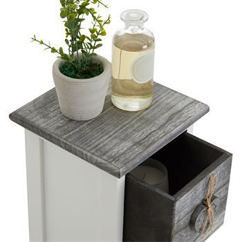 Deko Blumenregal FLOWER in weiß mit 1 Schublade und 3 Körben