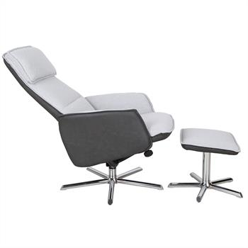 Relaxsessel RENO mit Hocker in grau