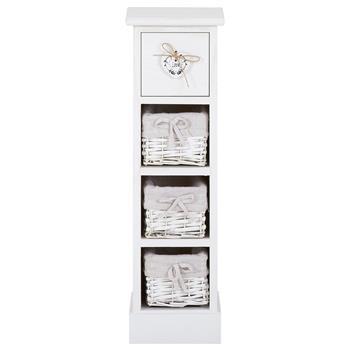 Blumenregal FLOWER in weiß mit 1 Schublade und 3 Körben