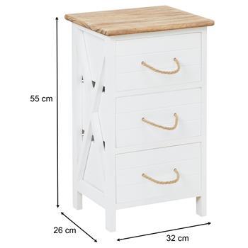 Nachttisch PERUGIA weiß, mit 3 Schubladen