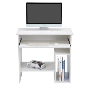 Computertisch LOTTA in weiß mit Tastaturauszug