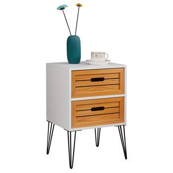 Nachttisch ESTORIL in weiß, 2 Schubladen