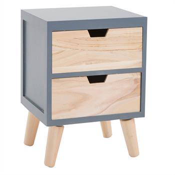 Nachttisch BAHIA in grau/natur, 2 Schubladen