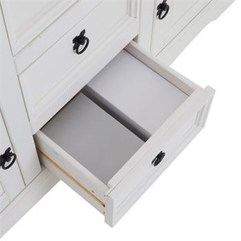 Sideboard CAMPO im Mexiko Stil Kiefer massiv mit 5 Schubladen und 2 Türen in weiß