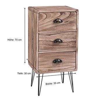 Nachttisch MALIA mit 3 Schubladen, Industrial Design