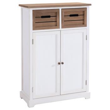 Anrichte CULTURA im Landhaus Stil 2 Türen, 2 Schubkästen in weiß/braun
