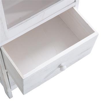 Vitrine ETANIA weiß mit 2 Schubladen im Vintage Look