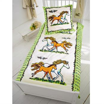 Bettwäsche mit Pferdemotiv in weiß-grün