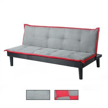 3-Sitzer Schlafsofa CLAUDIA in grau/rot