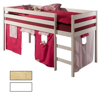 Hochbett mit Vorhang in 2 Farben